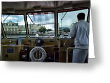 Aboard Friendship And Approaching The Boardwalk At Walt Disney World Greeting Card