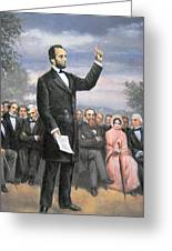 Abraham Lincoln Delivering The Gettysburg Address Greeting Card by American School