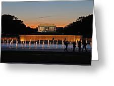 Abraham  Lincoln Memorial Sunset Greeting Card