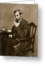 Abraham Lincoln Sitting At Desk Greeting Card