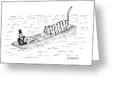 Abraham Lincoln With Tiger In Boat Greeting Card