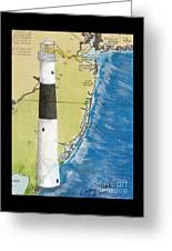 Absecon Lighthouse Nj Nautical Chart Map Art Cathy Peek Greeting Card