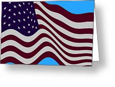 Abstract Burgundy Grey Violet 50 Star American Flag Flying Cropped Greeting Card