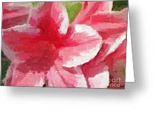 Abstract 106 Pink Painterly Flowers Greeting Card
