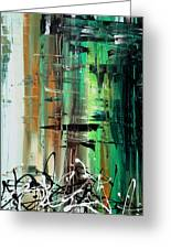 Abstract Art Colorful Original Painting Green Valley By Madart Greeting Card
