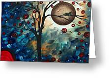 Abstract Art Contemporary Cat Bird Circle Of Life Collection Cat Perch By Madart Greeting Card