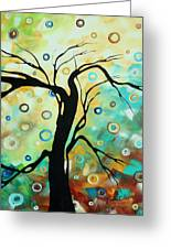Abstract Art Landscape Circles Painting A Secret Place 3 By Madart Greeting Card