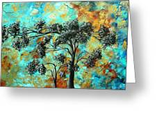 Abstract Art Landscape Metallic Gold Textured Painting Spring Blooms II By Madart Greeting Card