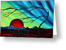 Abstract Art Landscape Seascape Bold Colorful Artwork Serenity By Madart Greeting Card