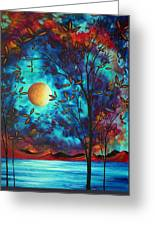 Abstract Art Landscape Tree Blossoms Sea Moon Painting Visionary Delight By Madart Greeting Card