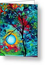 Abstract Art Landscape Tree Blossoms Sea Painting Under The Light Of The Moon I  By Madart Greeting Card