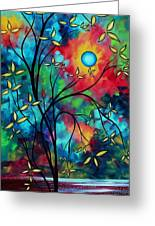 Abstract Art Landscape Tree Blossoms Sea Painting Under The Light Of The Moon II By Madart Greeting Card