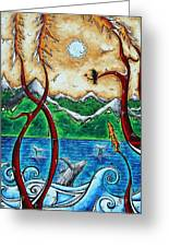 Abstract Art Original Alaskan Wilderness Landscape Painting Land Of The Free By Madart Greeting Card by Megan Duncanson
