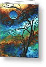 Abstract Art Original Colorful Painting Mystery Of The Moon By Madart Greeting Card