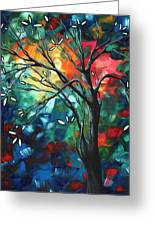 Abstract Art Original Colorful Painting Spring Blossoms By Madart Greeting Card