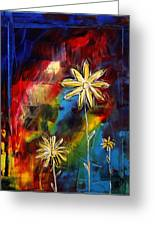Abstract Art Original Daisy Flower Painting Visual Feast By Madart Greeting Card