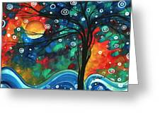 Abstract Art Original Landscape Colorful Painting First Snow Fall By Madart Greeting Card by Megan Duncanson