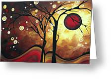 Abstract Art Original Landscape Painting Catch The Rising Sun By Madart Greeting Card