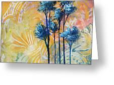 Abstract Art Original Landscape Painting Contemporary Design Blue Trees II By Madart Greeting Card