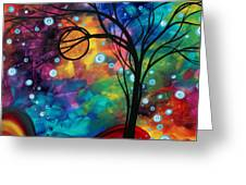 Abstract Art Original Painting Winter Cold By Madart Greeting Card