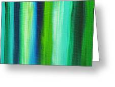 Abstract Art Original Textured Soothing Painting Sea Of Whimsy Stripes I By Madart Greeting Card by Megan Duncanson