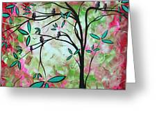 Abstract Art Original Whimsical Magical Bird Painting Through The Looking Glass  Greeting Card