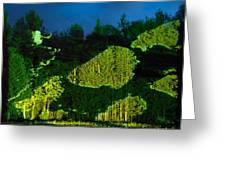 Abstract Art Projection Over Night Nature Scenery Greeting Card
