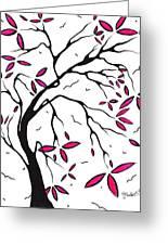 Abstract Artwork Modern Original Landscape Pink Blossom Tree Art Pink Foliage By Madart Greeting Card by Megan Duncanson