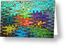 Abstract Background With Bright Colored Waves 1 Greeting Card