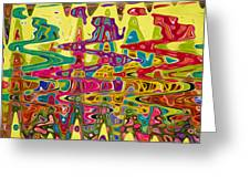 Abstract Background With Bright Colored Waves 5 Greeting Card