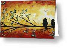 Abstract Bird Landscape Tree Blossoms Original Painting Family Of Three Greeting Card