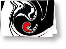 Abstract Black White Red Geometric Art No.384. Greeting Card by Drinka Mercep