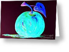 Abstract Blue And Teal Apple On Black Greeting Card