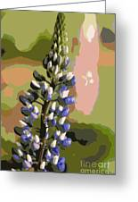 Abstract Blue Lupine Greeting Card