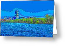 Abstract Boston Skyline Greeting Card