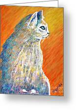 Jazzy Abstract Cat Greeting Card