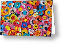Abstract Colorful Flowers 1 - Paint Joy Series Greeting Card