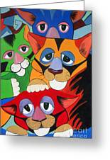 Abstract Colorful Sleepy Cats Greeting Card