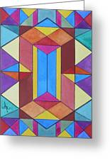 Abstract Colorful Stained Glass Window Design  Greeting Card