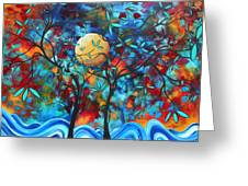 Abstract Contemporary Colorful Landscape Painting Lovers Moon By Madart Greeting Card