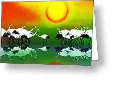 Abstract Crane Bird V1  Greeting Card