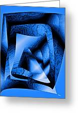 Abstract Design In Blue Contrast Greeting Card by Mario Perez