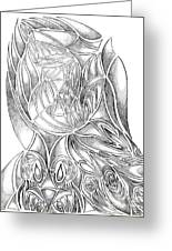 Abstract Drawing Owl Hands Roses Greeting Card