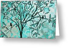 Abstract Floral Birds Landscape Painting Bird Haven II By Megan Duncanson Greeting Card