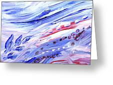 Abstract Floral Marble Waves Greeting Card