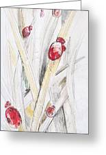 Abstract Floral Painted Background With Ladybugs Greeting Card