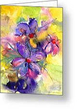 abstract Flower botanical watercolor painting print Greeting Card