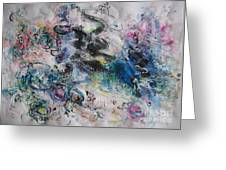 Abstract Flower Field Painting Blue Pink Green Purple Black Landscape Painting Modern Acrylic Pastel Greeting Card