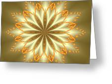 Abstract Flower In Gold And Silver Greeting Card
