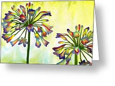 Abstract Flowers Greeting Card by Diane Ferron